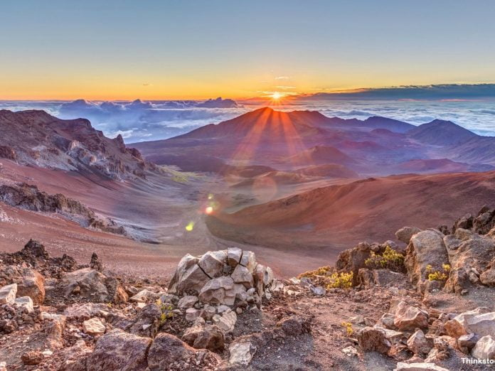 View of the crater in Haleakala National Park on Maui, Hawaii