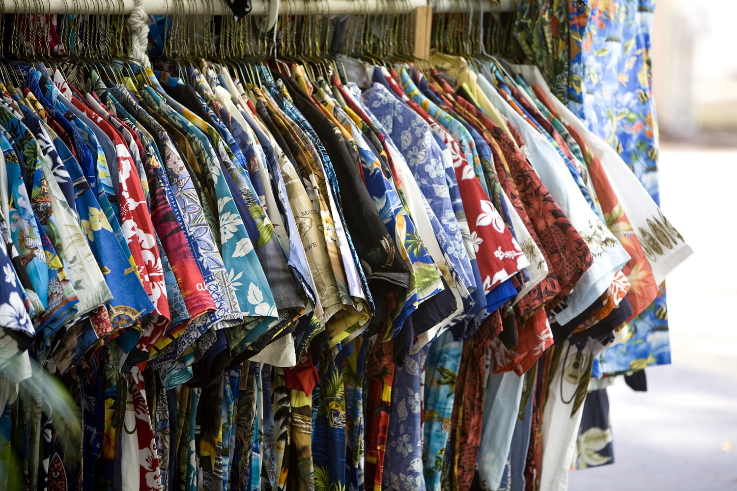 Rack of Hawaiian shirts at the Shops at Wailea