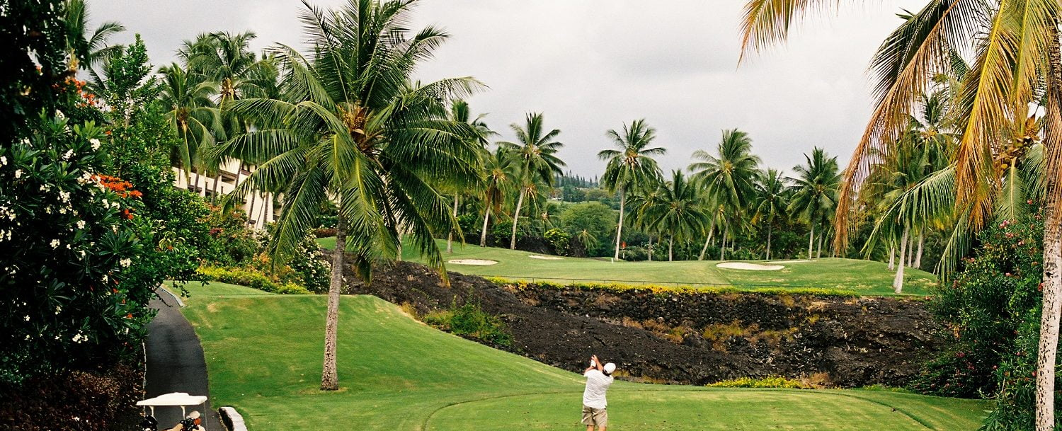 Golfer playing a course at the Kapalua Golf Club