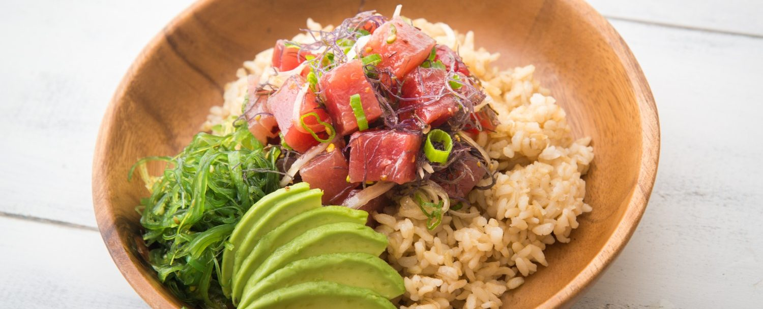 Ahi poke bowl with brown rice