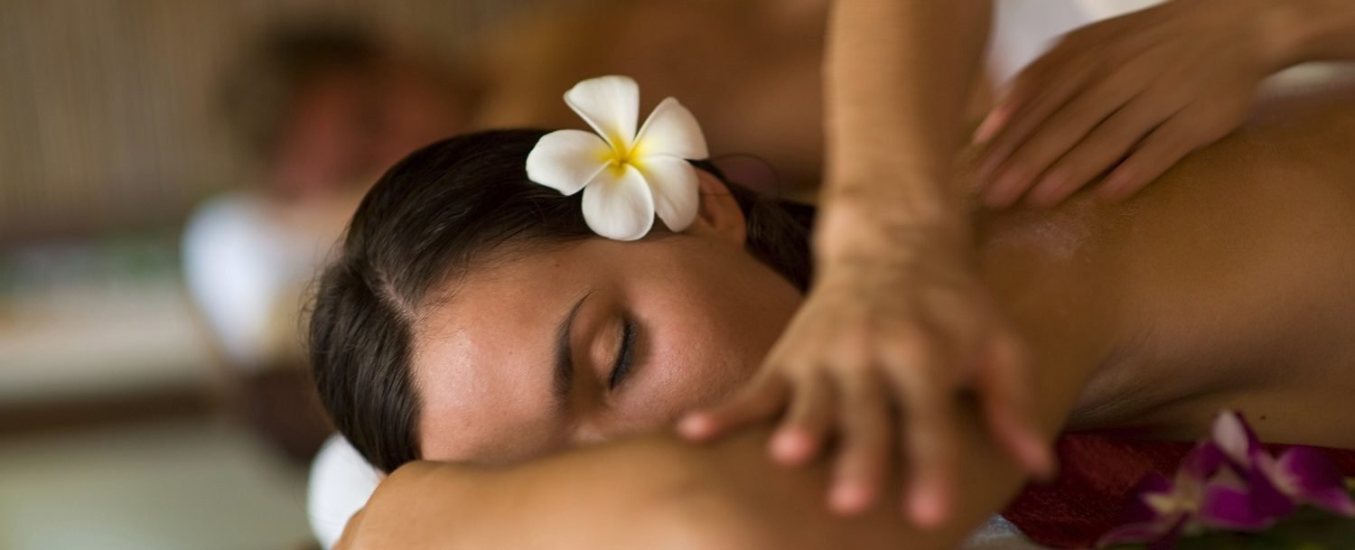 Woman enjoying a massage at the best spa on Maui