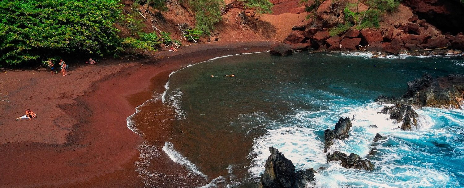 Bird's-eye view of the incredible red sand beach on Maui